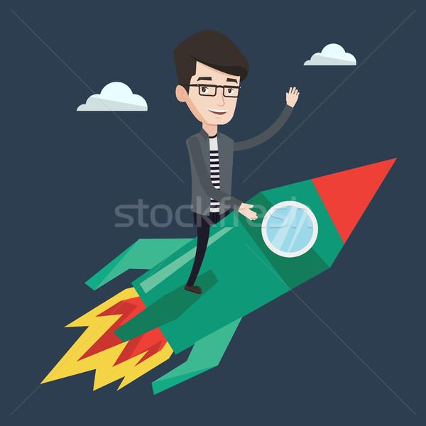 Stock fotó: üzlet · kezdet · felfelé · fiatal · üzletember · repülés
