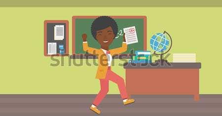 Foto stock: Estudiante · prueba · papel · mejor · resultado