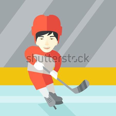 Foto stock: Hockey · sobre · hielo · jugador · palo · Asia · femenino · patinaje