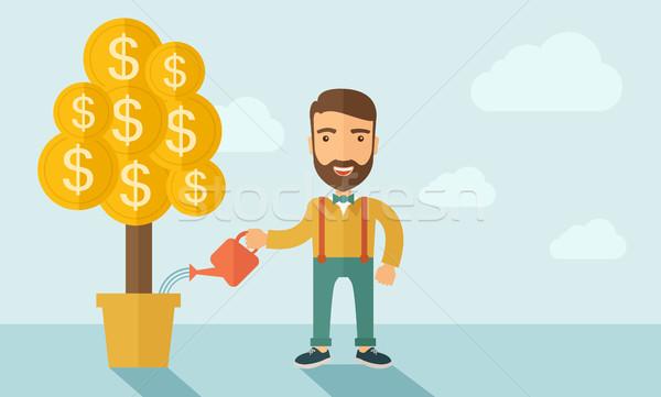 Zunehmend Geschäftsmann Bart stehen glücklich Stock foto © RAStudio