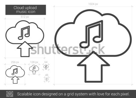 Cloud upload music line icon. Stock photo © RAStudio