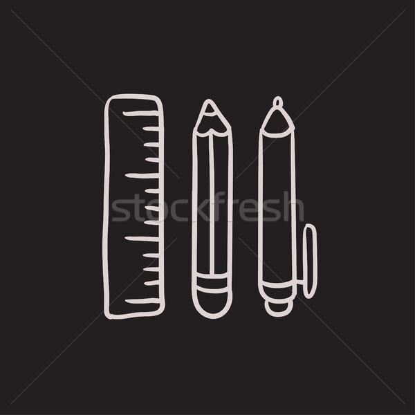 Fournitures scolaires croquis icône vecteur isolé dessinés à la main Photo stock © RAStudio