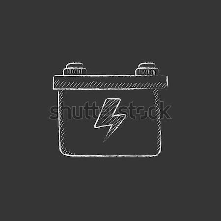 Carro bateria esboço ícone vetor isolado Foto stock © RAStudio