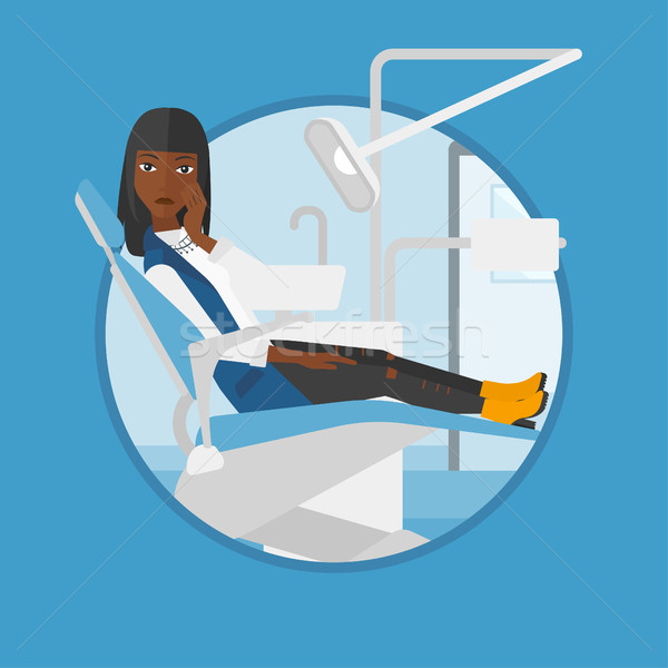 Nő szenvedés fogászati szék fiatal beteg Stock fotó © RAStudio