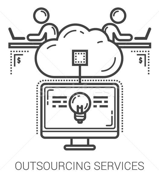 Outsourcing diensten lijn iconen metafoor Stockfoto © RAStudio