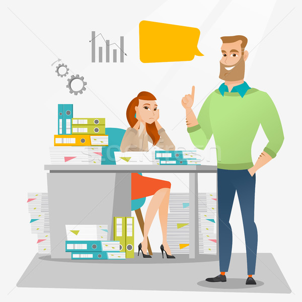 Stressed female office worker and her employer. Stock photo © RAStudio