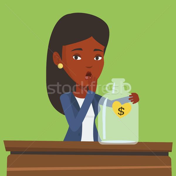 Becsődölt üzletasszony néz üres pénz doboz Stock fotó © RAStudio