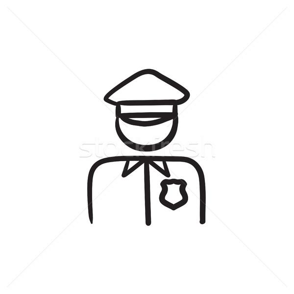 Policjant szkic ikona wektora odizolowany Zdjęcia stock © RAStudio