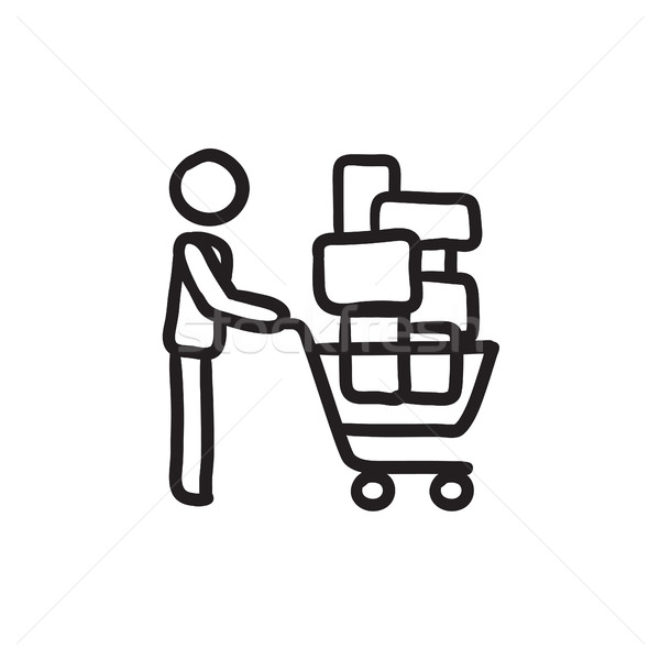 Man pushing shopping cart sketch icon. Stock photo © RAStudio