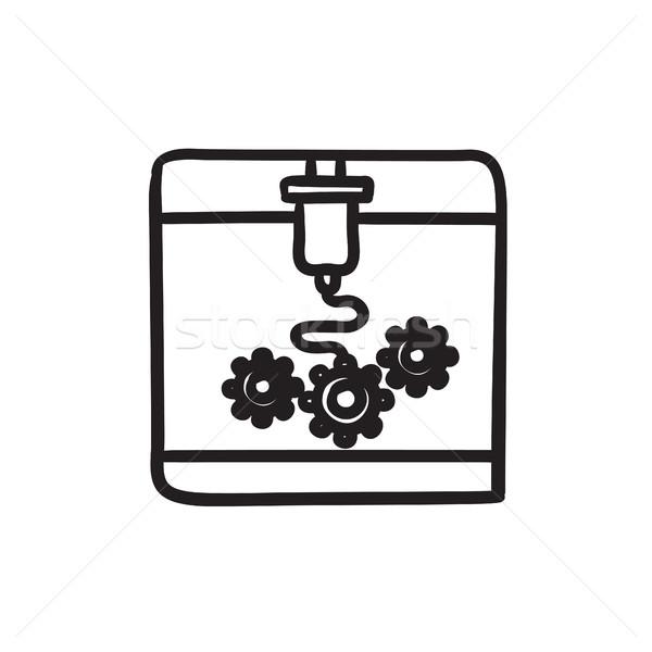 Fa nyomtatás rajz ikon vektor izolált Stock fotó © RAStudio