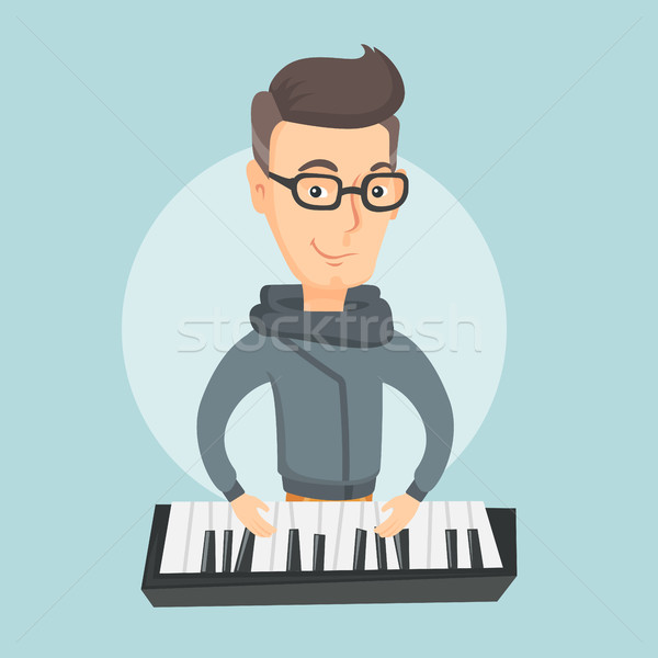 Man playing piano vector illustration. Stock photo © RAStudio