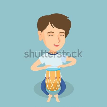 Férfi játszik kisebbségi dob ázsiai fiatal Stock fotó © RAStudio