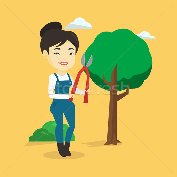 Farmer with pruner in garden vector illustration. Stock photo © RAStudio