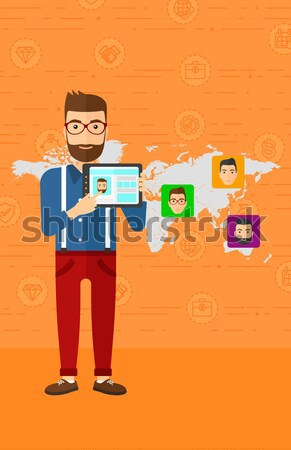 Hombre como red social botones adulto caucásico Foto stock © RAStudio