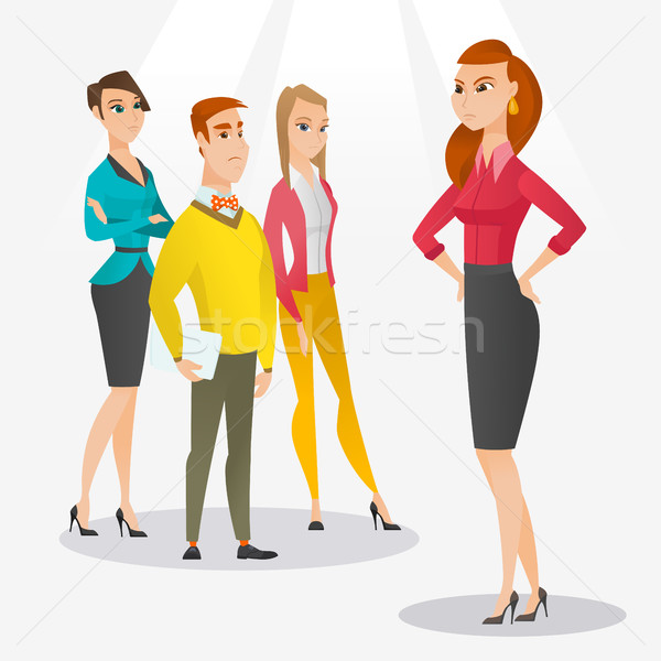 Angry boss with employees during meeting. Stock photo © RAStudio
