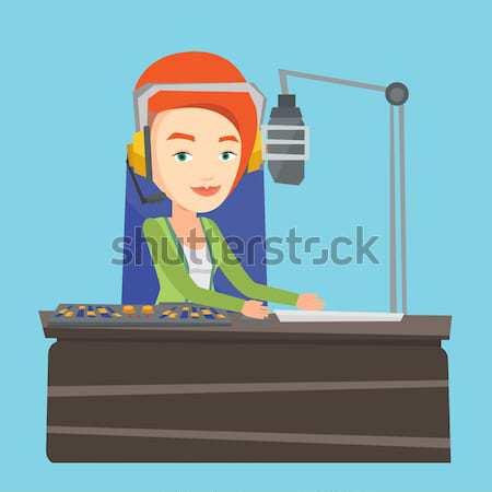 Feminino trabalhando rádio microfone computador consolá Foto stock © RAStudio