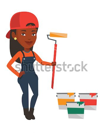 Painter holding paint roller vector illustration. Stock photo © RAStudio