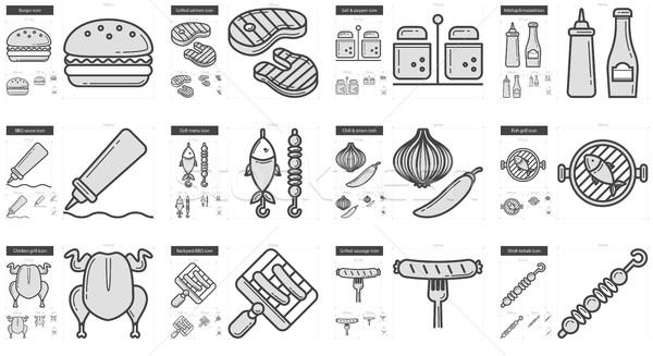 Stockfoto: Barbecue · lijn · vector · geïsoleerd · witte