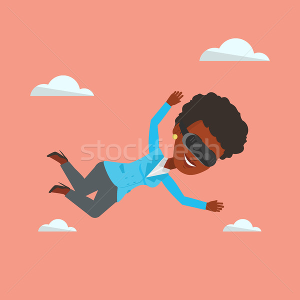 Woman in vr headset flying in the sky. Stock photo © RAStudio
