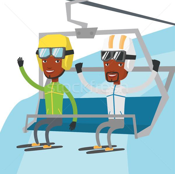 Dois feliz esquiar recorrer africano homens Foto stock © RAStudio