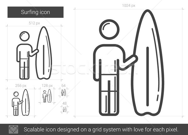 Surfing line icon. Stock photo © RAStudio