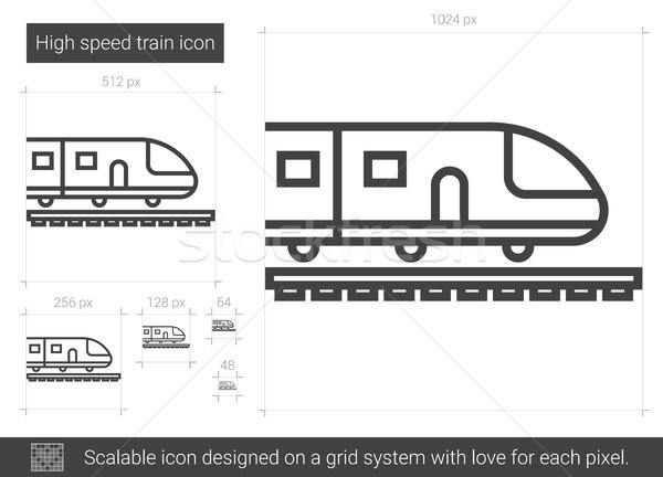 поезд линия икона вектора изолированный Сток-фото © RAStudio