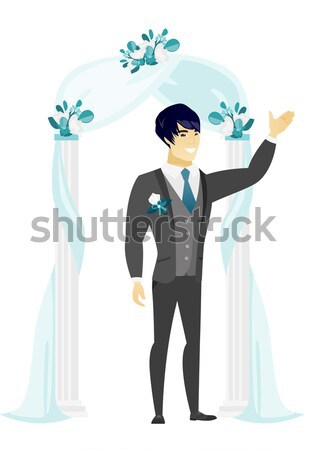 Heureux marié permanent mariage arc décoré Photo stock © RAStudio