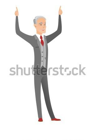 Kafkas işadamı işaret işaret parmağı yukarı Stok fotoğraf © RAStudio