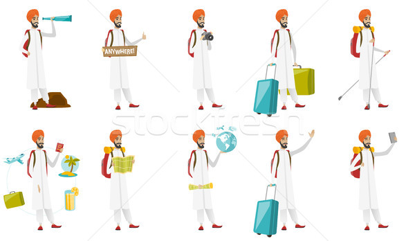 Muslim traveler vector illustrations set. Stock photo © RAStudio