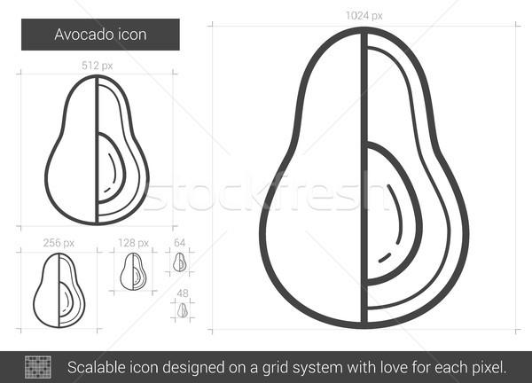 авокадо линия икона вектора изолированный белый Сток-фото © RAStudio