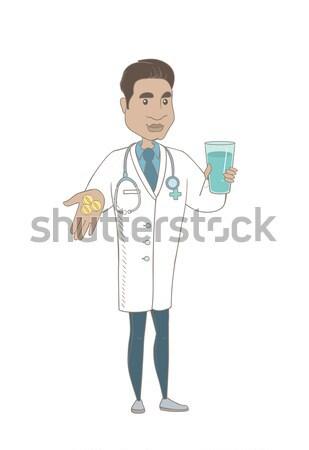 Laboratórium asszisztens vérvizsgálat cső kaukázusi dolgozik Stock fotó © RAStudio