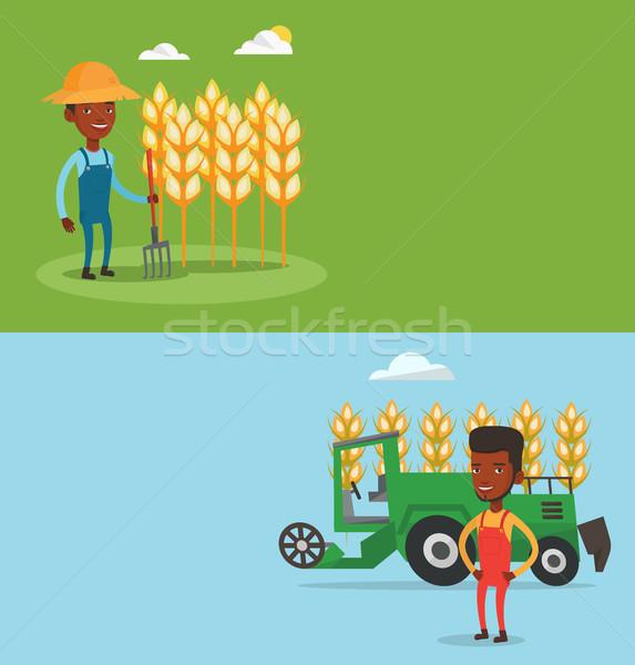 Kettő mezőgazdasági bannerek űr szöveg vektor Stock fotó © RAStudio