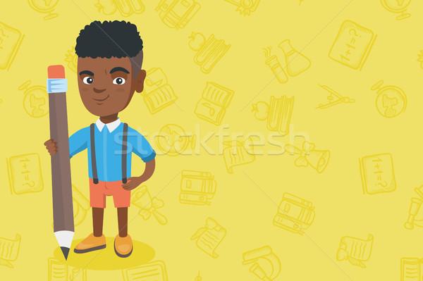 африканских Kid мальчика Постоянный огромный карандашом Сток-фото © RAStudio