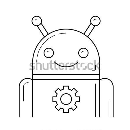 Android teken schets icon vector Stockfoto © RAStudio