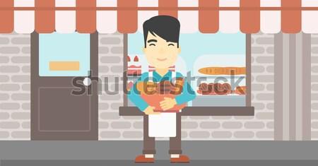 Piekarz koszyka piekarni produktów stałego Zdjęcia stock © RAStudio