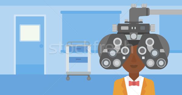 Pacjenta oka badanie kobieta okulista medycznych Zdjęcia stock © RAStudio