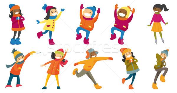 Multikulturális emberek vektor illusztrációk szett gyerekek Stock fotó © RAStudio
