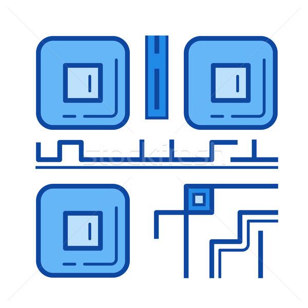 Qr code line ikona wektora odizolowany biały Zdjęcia stock © RAStudio