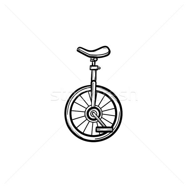 Bir tekerlek bisiklet kroki ikon Stok fotoğraf © RAStudio