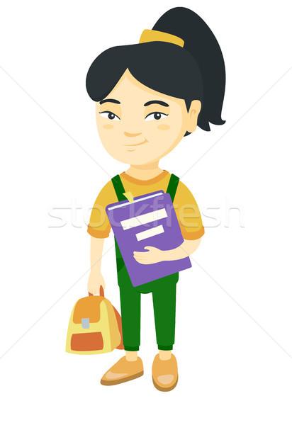 Asia mochila libro de texto tutorial sonriendo Foto stock © RAStudio