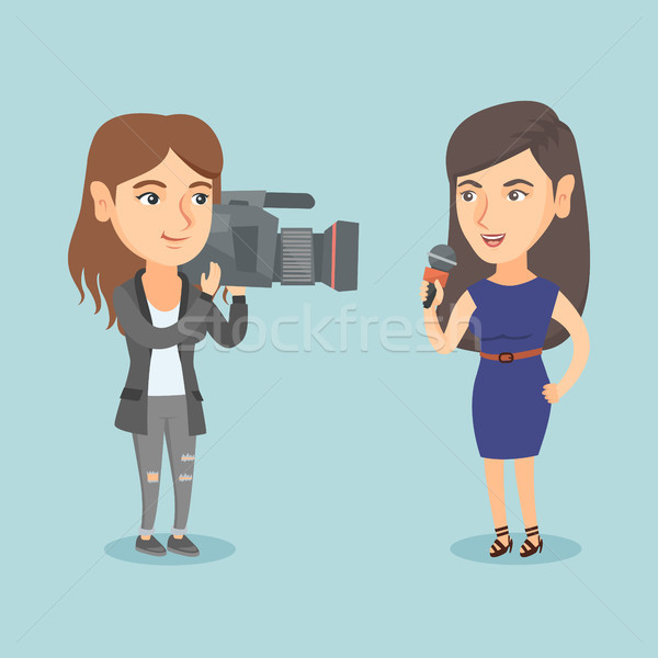 Reporter with a microphone presenting the news. Stock photo © RAStudio