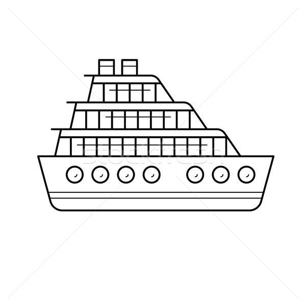 Navio de cruzeiro linha ícone vetor isolado branco Foto stock © RAStudio