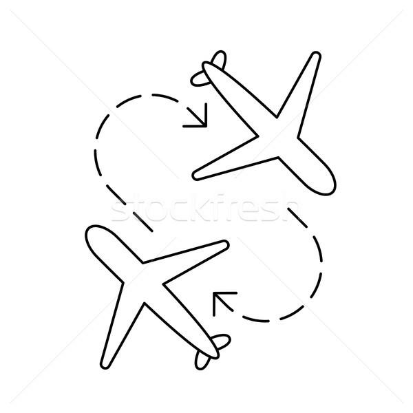 самолет передача линия икона вектора изолированный Сток-фото © RAStudio