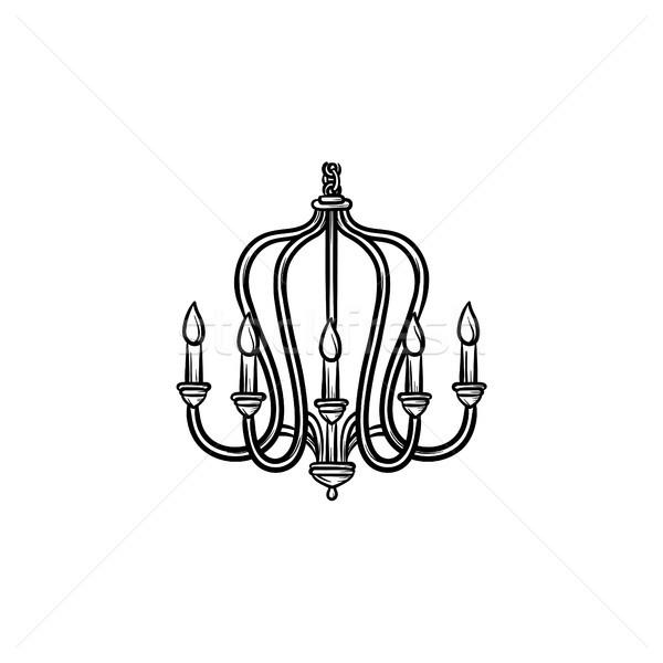 Lampadario sketch icona contorno doodle Foto d'archivio © RAStudio