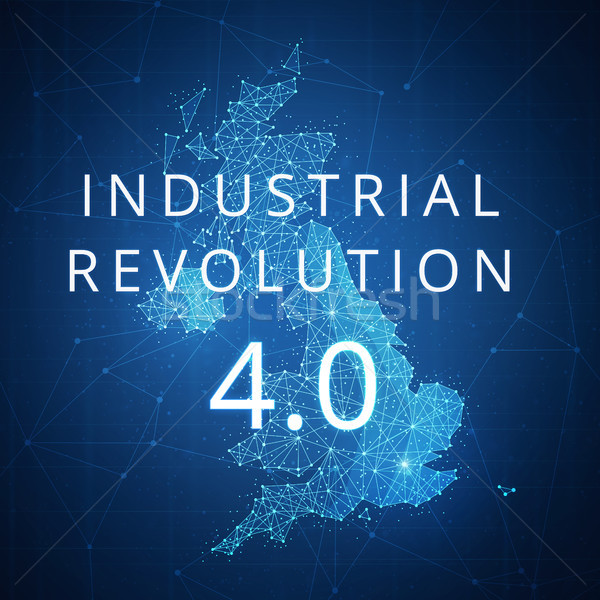 Fourth industrial revolution on blockchain polygon Great britain map. Stock photo © RAStudio