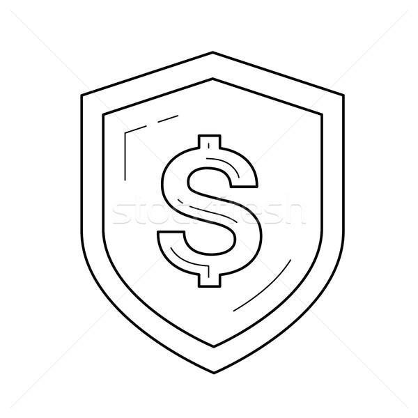 Shield with dollar symbol vector line icon. Stock photo © RAStudio