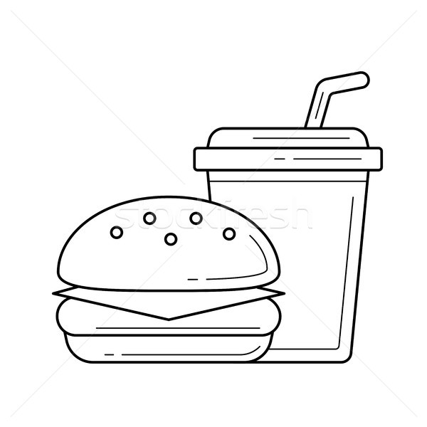 Food and beverage takeaway vector line icon. Stock photo © RAStudio