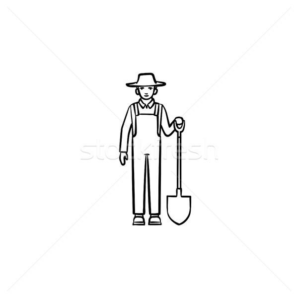 Agriculteur pelle dessinés à la main croquis icône Photo stock © RAStudio