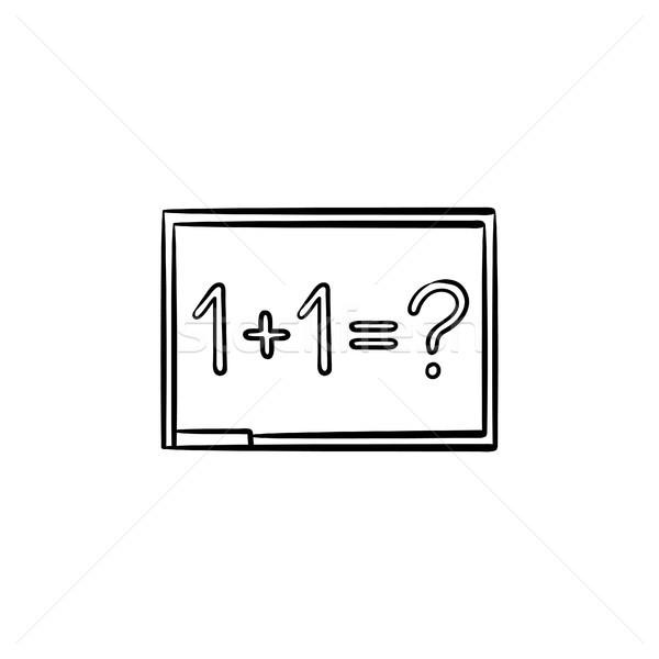 доске Math задача рисованной эскиз икона Сток-фото © RAStudio