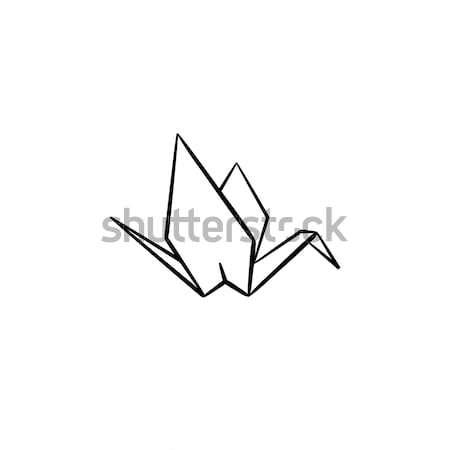 Origami gru sketch icona contorno Foto d'archivio © RAStudio